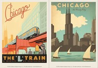 Chicago L-Train & Windy City Vinyl Magnet Set
