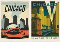 Chicago Mag Mile & Mill Park Vinyl Magnet Set