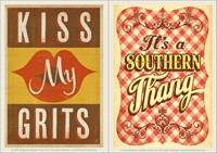 Kiss My Grits & Southern Thang Vinyl Magnet Set