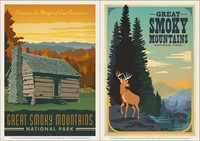 Great Smoky Cabin & Great Smoky Deer Vinyl Magnet Set