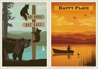 Bears Signpost & Happy Place Vinyl Magnet Set