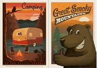 Camping & Great Smoky Cartoon Bear Vinyl Magnet Set