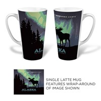 Alaska Northern Lights Moose Latte Mug
