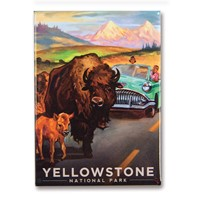 Yellowstone Bison Crossing Metal Magnet