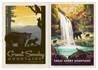 Great Smoky Mama Bear & Cubs & Great Smoky Grotto Falls Vinyl Magnet Set
