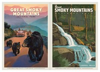 Great Smoky Bear Jam & Great Smoky Laurel Falls Vinyl Magnet Set