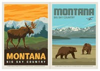 Montana Frontier Moose & Montana Bears Big Sky Country Vinyl Magnet Set