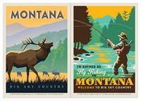 Montana Elk Sky Country & Montana Fly Fishing Vinyl Magnet Set