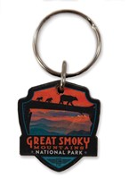Great Smoky Bear Crossing Emblem Wooden Key Ring