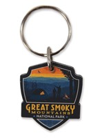 Great Smoky Back Country Camping Emblem Wooden Key Ring