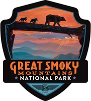Great Smoky Bear Crossing Emblem Sticker