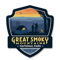 Great Smoky Back Country Camping Emblem Wooden Magnet