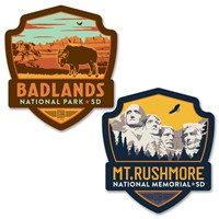 Mt Rushmore/Badlands Bison Emblem Car Coaster PK of 2