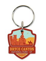 Bryce Canyon Emblem Wooden Key Ring