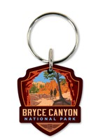 Bryce Canyon Peekaboo Trail Emblem Wooden Key Ring