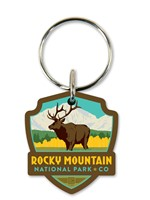 Rocky Mountain Elk Emblem Wooden Key Ring