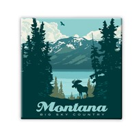 MT022SM - MT Big Sky Country Moose View Square Magnet